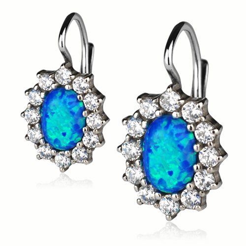Strieborné náušnice so zirkónmi a modrým opálom
