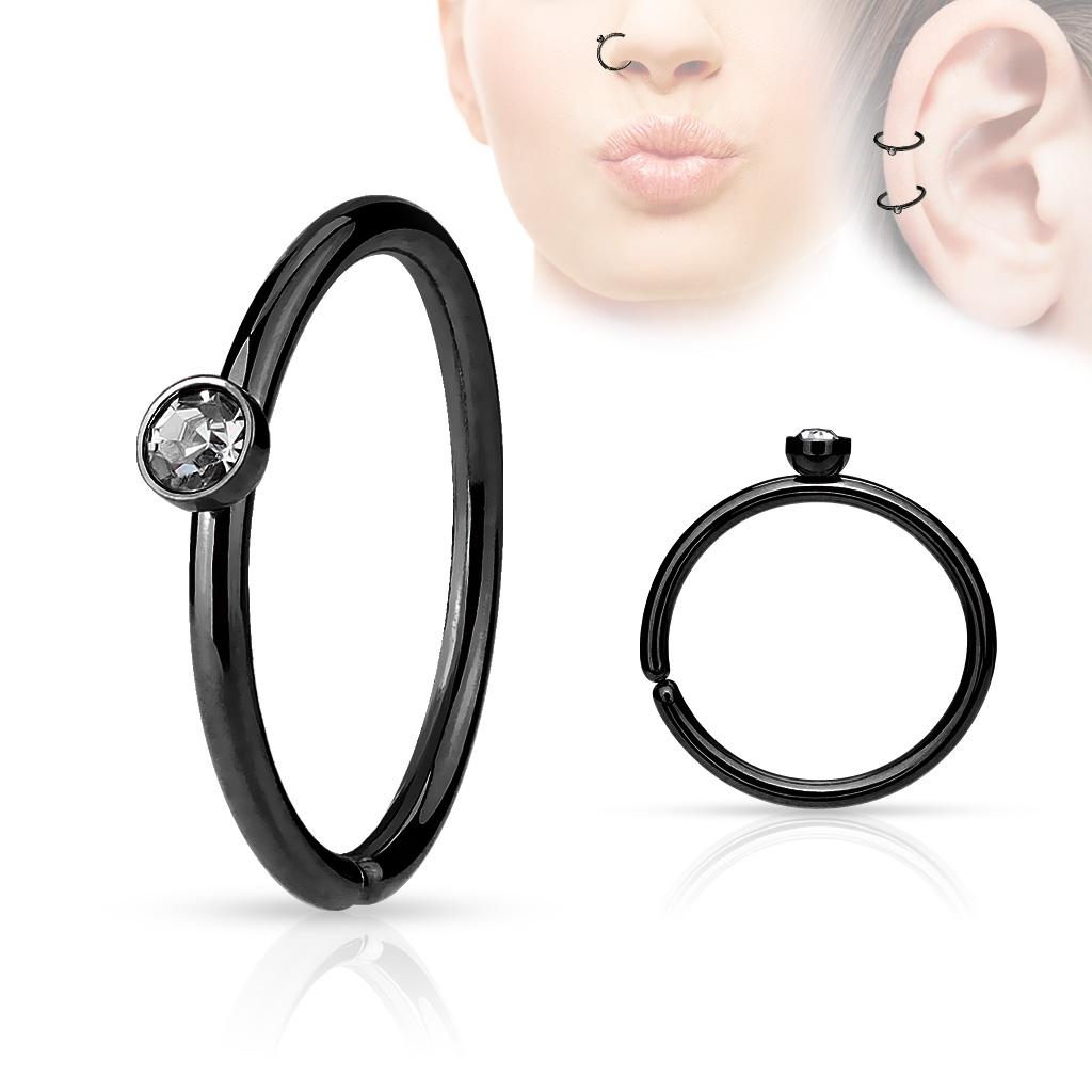 Čierny piercing do nosa / ucha kruh