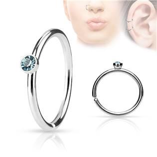 Piercing do nosu/ucha kruh s tyrkysovým kamínkem