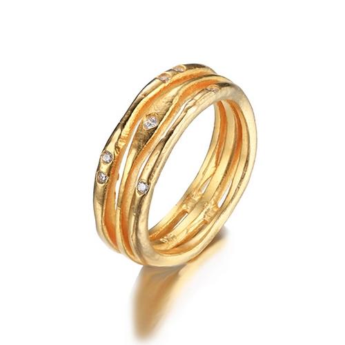 Pozlátený strieborný prsteň so zirkónmi