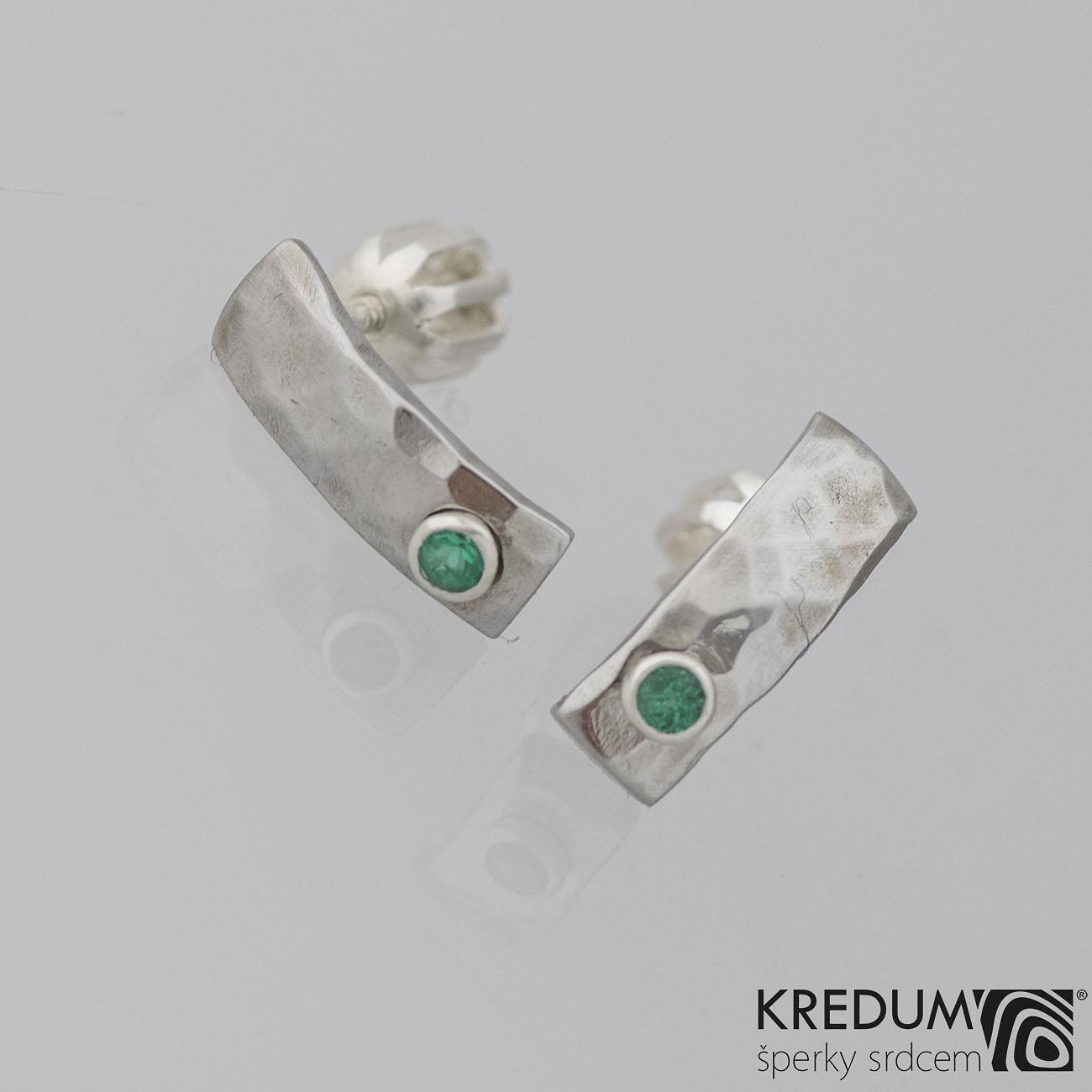 Kované nerezové naušnice Moon Draill Smaragd KS2020