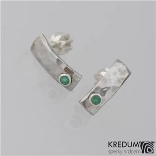 Kované nerezové naušnice Moon Draill Smaragd