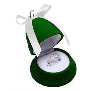 Vianočná darčeková krabička na prsteň - zvonček zelený