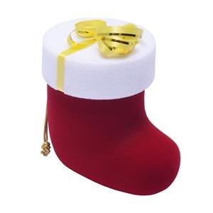 Vianočná darčeková krabička na prsteň - santova topánka