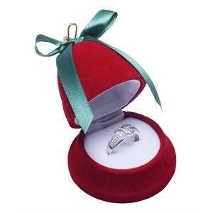 Vianočná darčeková krabička na prsteň - zvonček červený