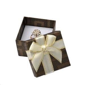 Darčeková krabička na prsteň hnedá s béžovou mašľou