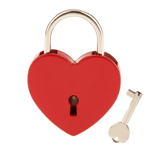 Zámok lásky - srdiečko červené, rozmer 58 x 44 mm