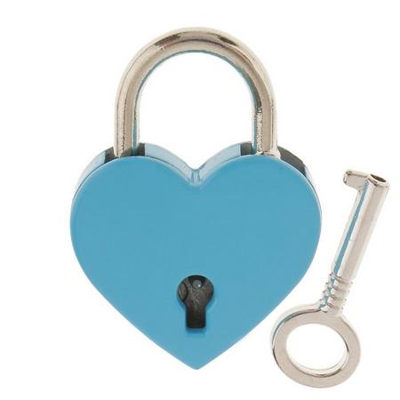 Zámok lásky - srdiečko modré, rozmer 39 x 30 mm