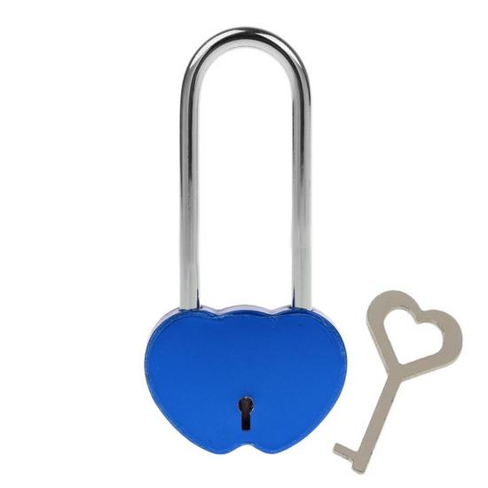 Zámok lásky - dvojsrdiečko modrej, rozmer 95 x 45 mm