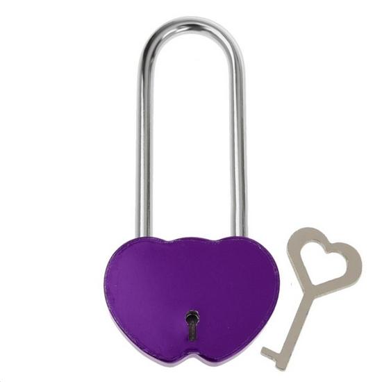 Zámok lásky - dvojsrdiečko fialovej, rozmer 95 x 45 mm