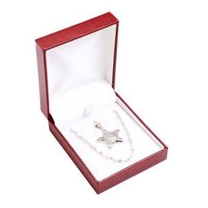 Červená koženková krabička na súpravu šperkov