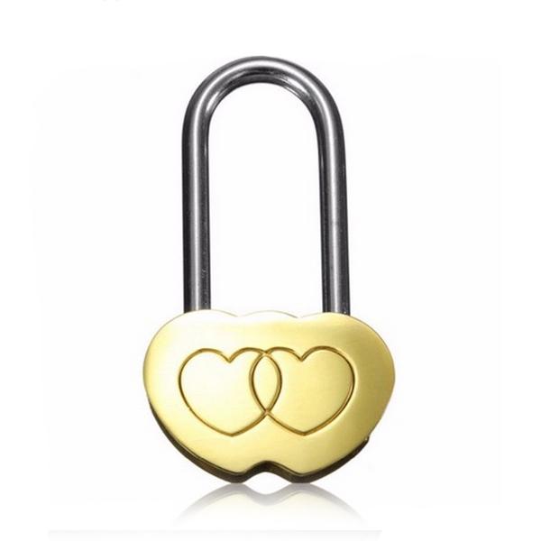 Zámok lásky - dvojsrdiečko bez kľúča, rozmer 65 x 35 mm