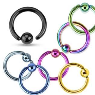 Piercing - kruh černý otevíratelný