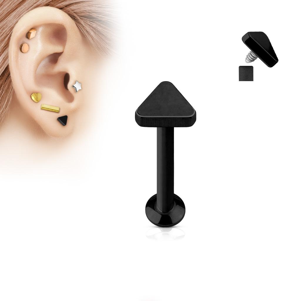 Čierny piercing do brady - labreta 1,2 x 6 mm, trojuholník