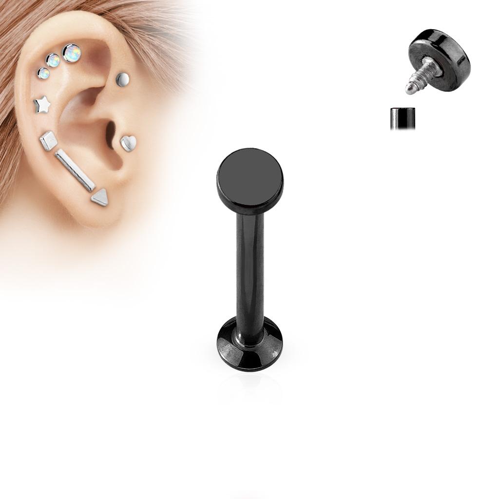 Čierny piercing do brady - labreta 1,2 x 6 mm, koliesko 4 mm