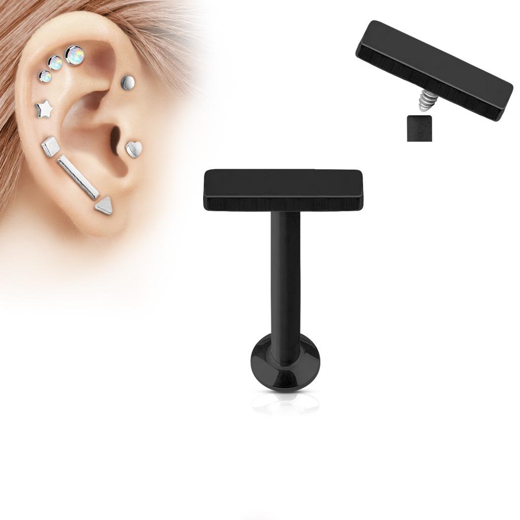 Čierny piercing do brady - labreta 1,2 x 6 mm, obdĺžnik 2 x 6 mm