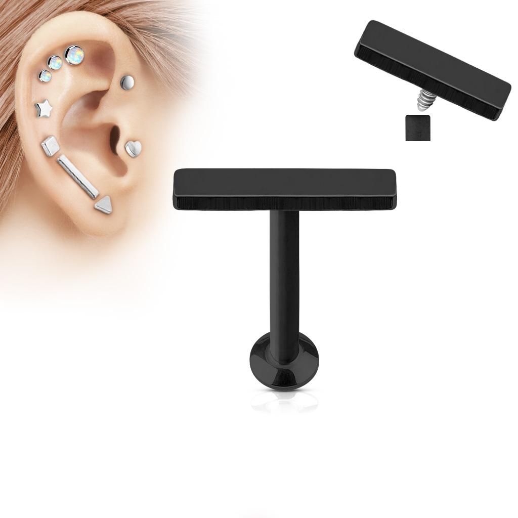 Čierny piercing do brady - labreta 1,2 x 6 mm, obdĺžnik 2 x 9 mm