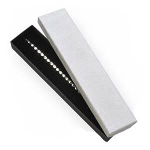 KR0044-ST Dárková krabička na náramek, stříbrná/černá