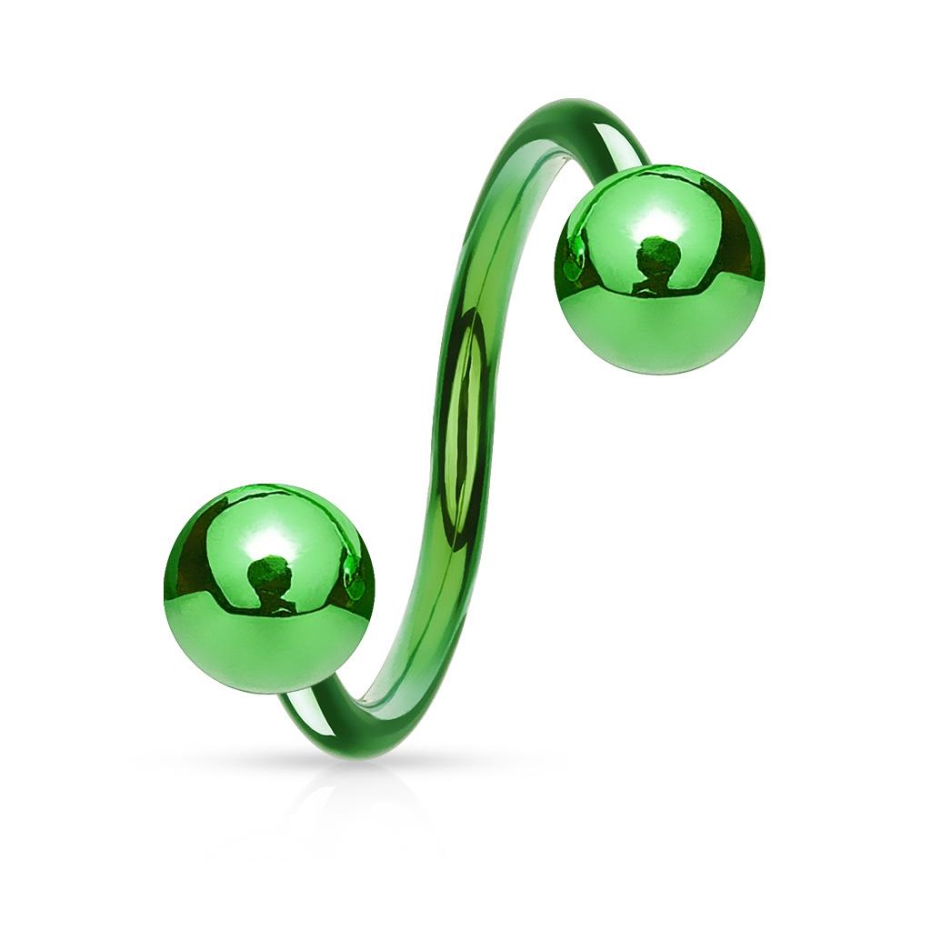Piercing špirála zelená