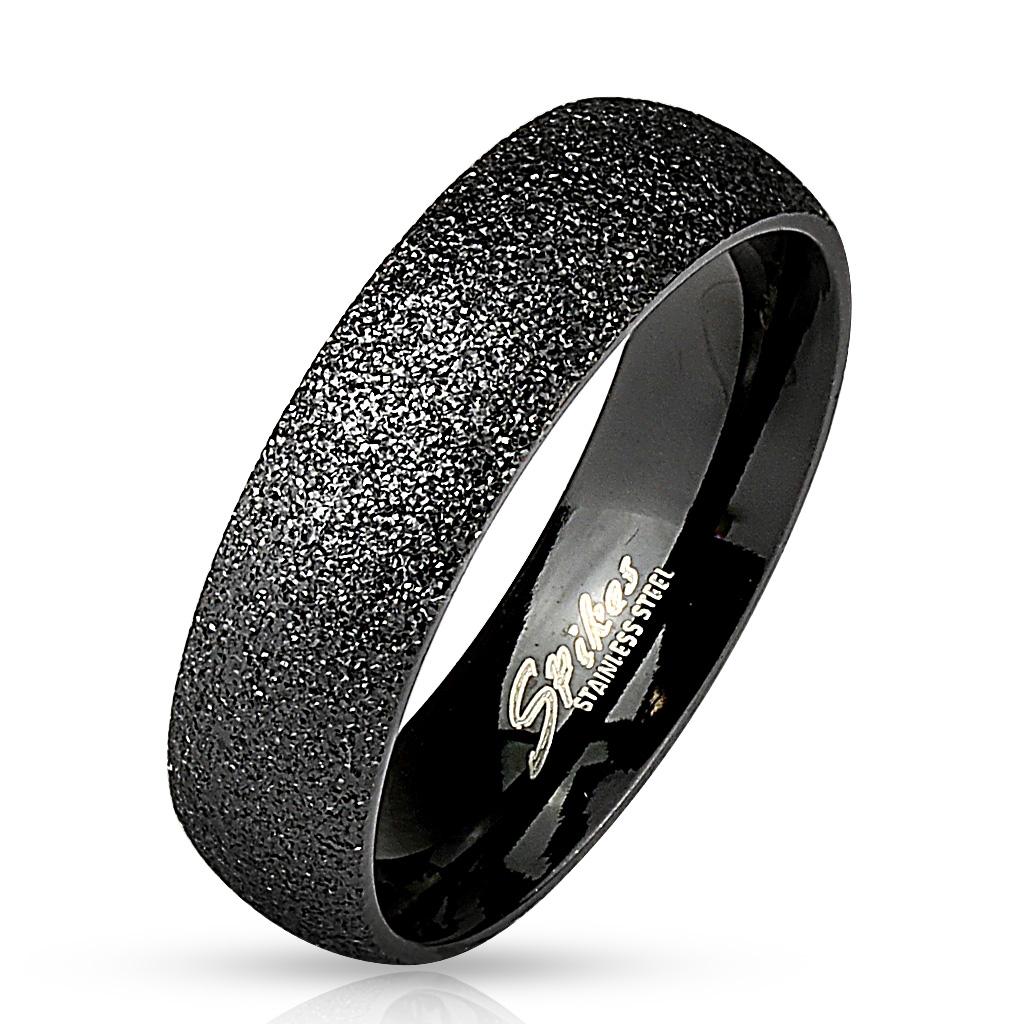 Čierny oceľový prsteň pieskovaný, šírka 6 mm