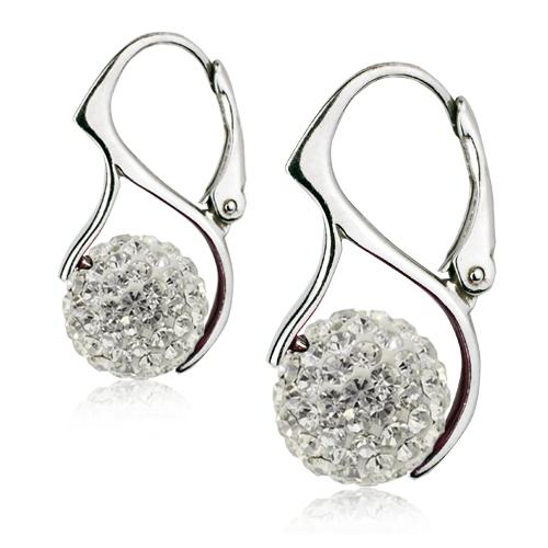 Strieborné náušnice guličky s kryštálmi Crystals from Swarovski ®, Crystal