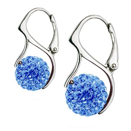 Strieborné náušnice guličky s kryštálmi Crystals from Swarovski ®, Light Blue
