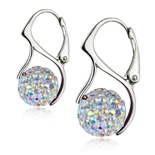 Strieborné náušnice guličky s kryštálmi Crystals from Swarovski ®, Crystal AB