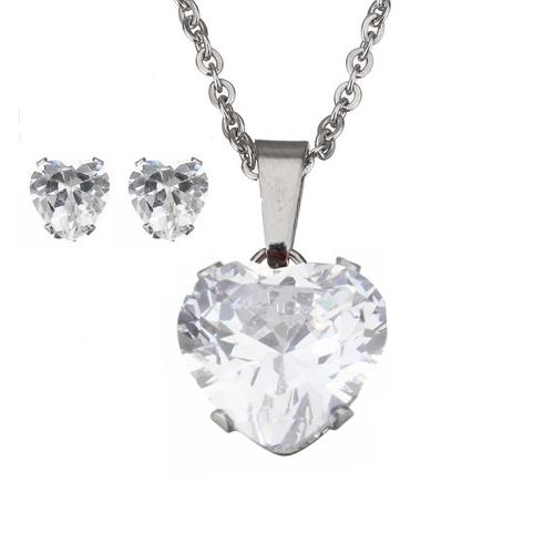 Set šperkov z chirurgickej ocele, srdiečka číra