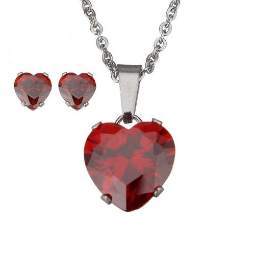 Set šperkov z chirurgickej ocele, srdiečka červená