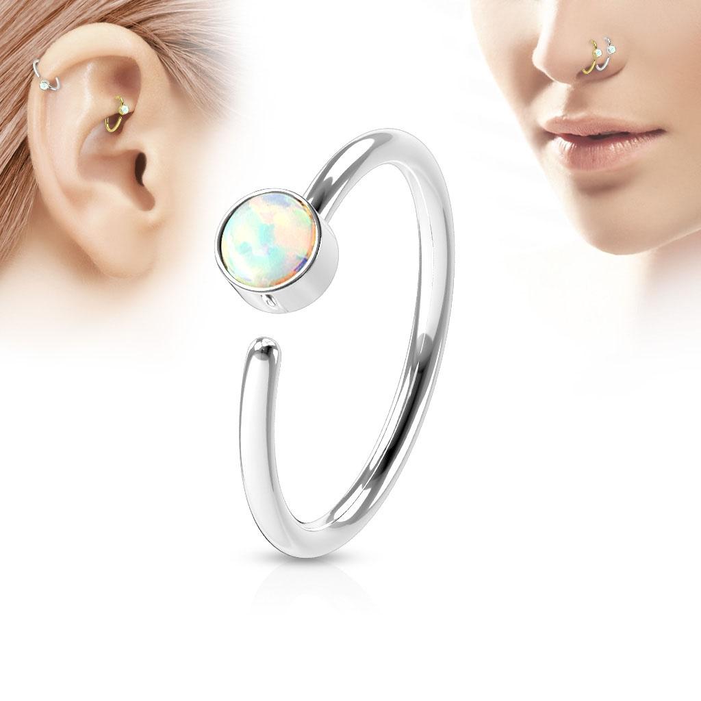 Piercing do nosu/ucha kruh, opál bílý