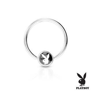 Piercing - kruh Playboy - černý,  1,2 x 10 mm
