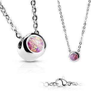 Ocelový náhrdelník s opálem růžové barvy