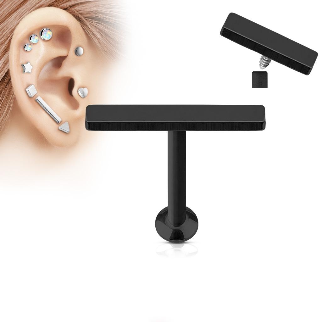 Čierny piercing do brady - labreta 1,2 x 6 mm, obdĺžnik 2 x 12 mm