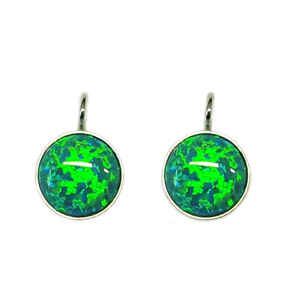 Strieborné náušnice - zelený opál