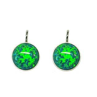 Stříbrné náušnice - zelený opál