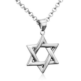 Šperky4U Ocelový řetízek s přívěškem - Davidova židovská hvězda - OPD0014