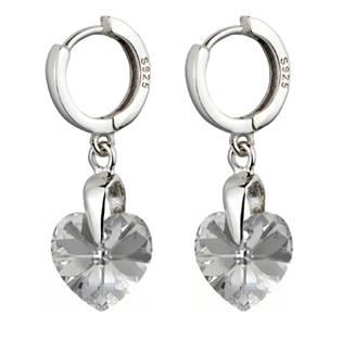 Stříbrné náušnice srdíčka s krystaly Crystals from Swarovski®, Silver Light