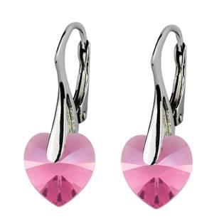 Stříbrné náušnice srdíčka s krystaly Crystals from Swarovski®, Rose