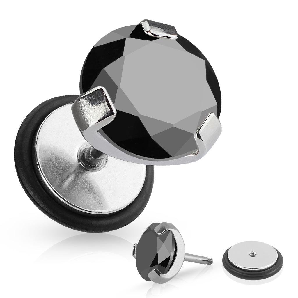 Falošný piercing - čierny kameň
