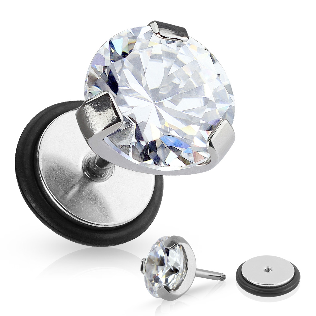 Falošný piercing - číry kameň