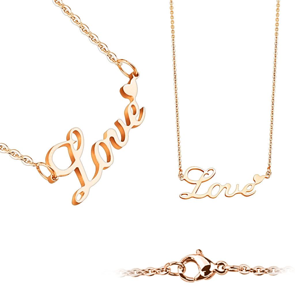"""Zlacený ocelový náhrdelník """"Love"""" OPD0018-RD"""