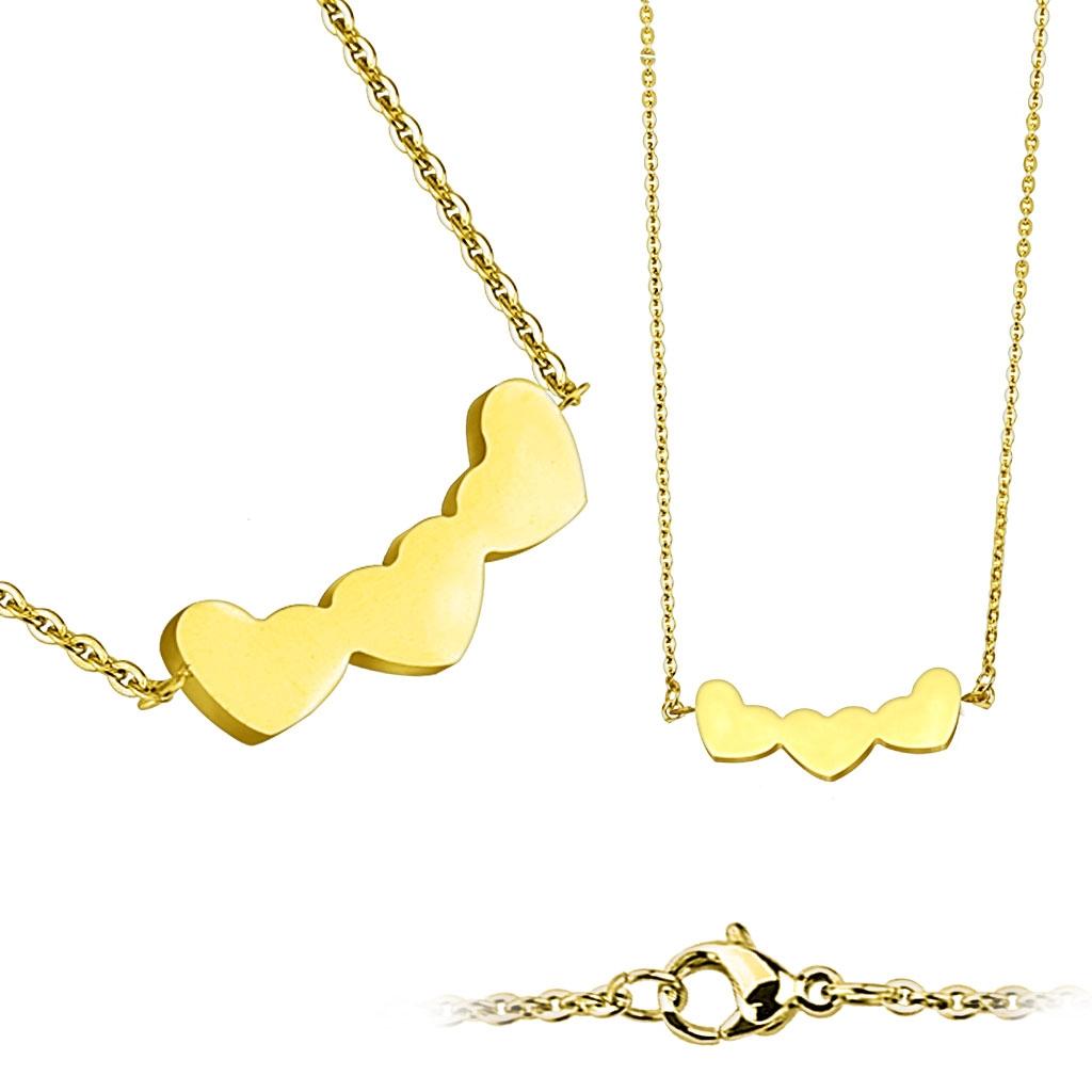 Zlacený ocelový náhrdelník se srdíčky OPD0019-GD