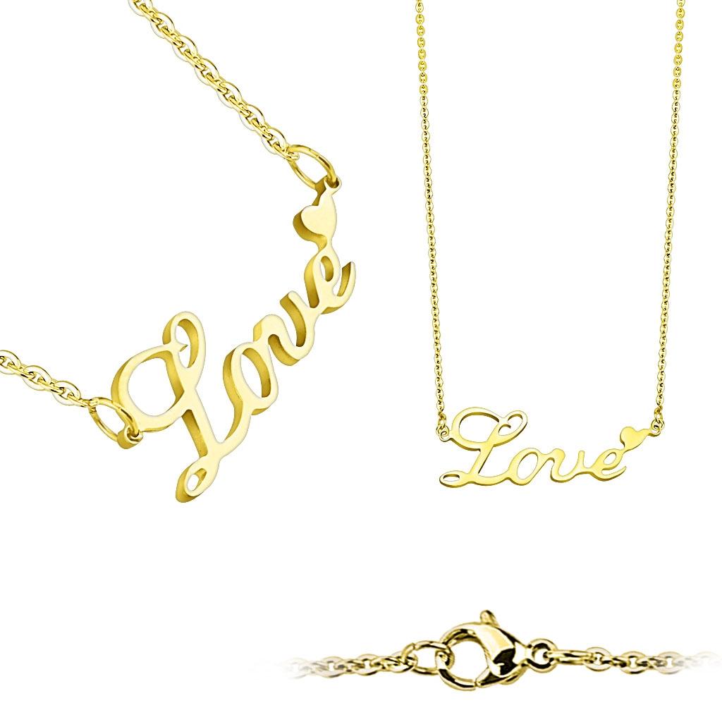 """Zlacený ocelový náhrdelník """"Love"""" OPD0018-GD"""