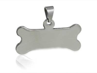 Ocelový přívěšek - psí známka - kost