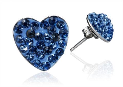 Oceľové náušnice srdiečka 8 mm - svetlo modré kryštály ESW1037