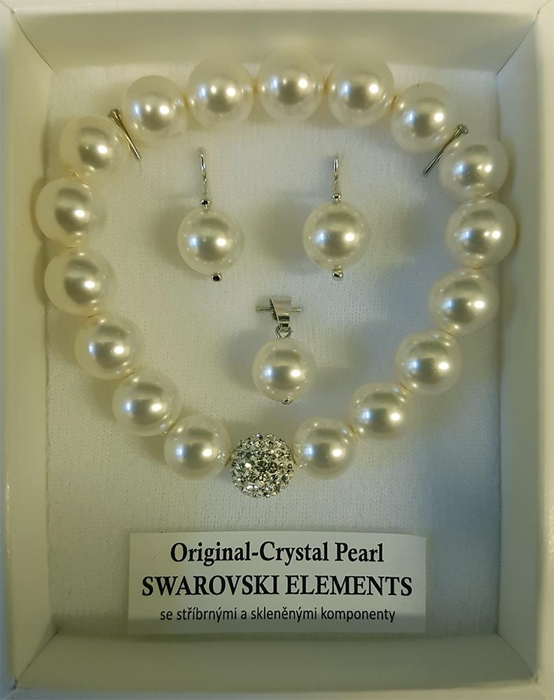 Perlový set náušnice + prívesok + náramok s perlami Swarovski ®