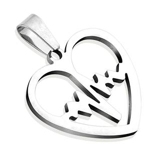 Ocelový přívěšek - srdce heart beat