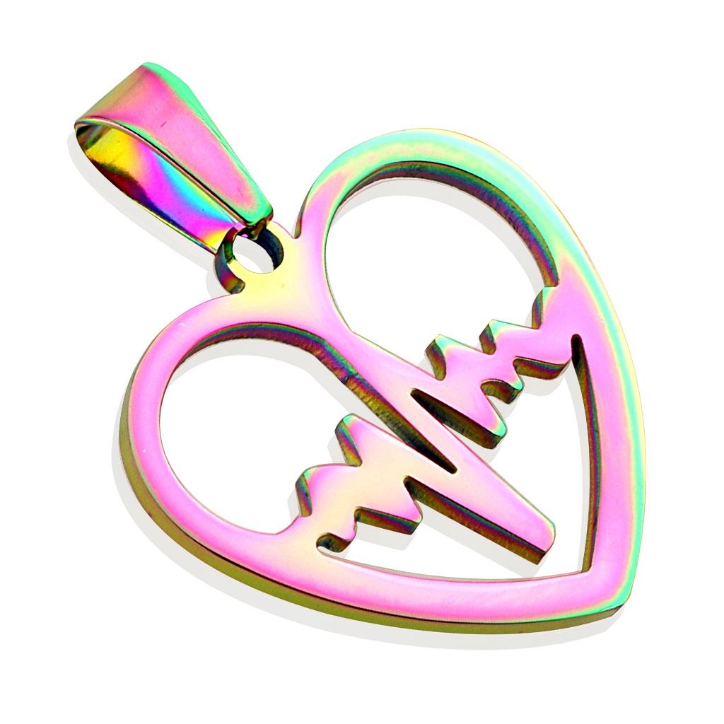 Dúhový oceľový prívesok - srdce heart beat