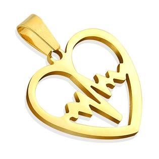 Zlacený ocelový přívěšek - srdce heart beat