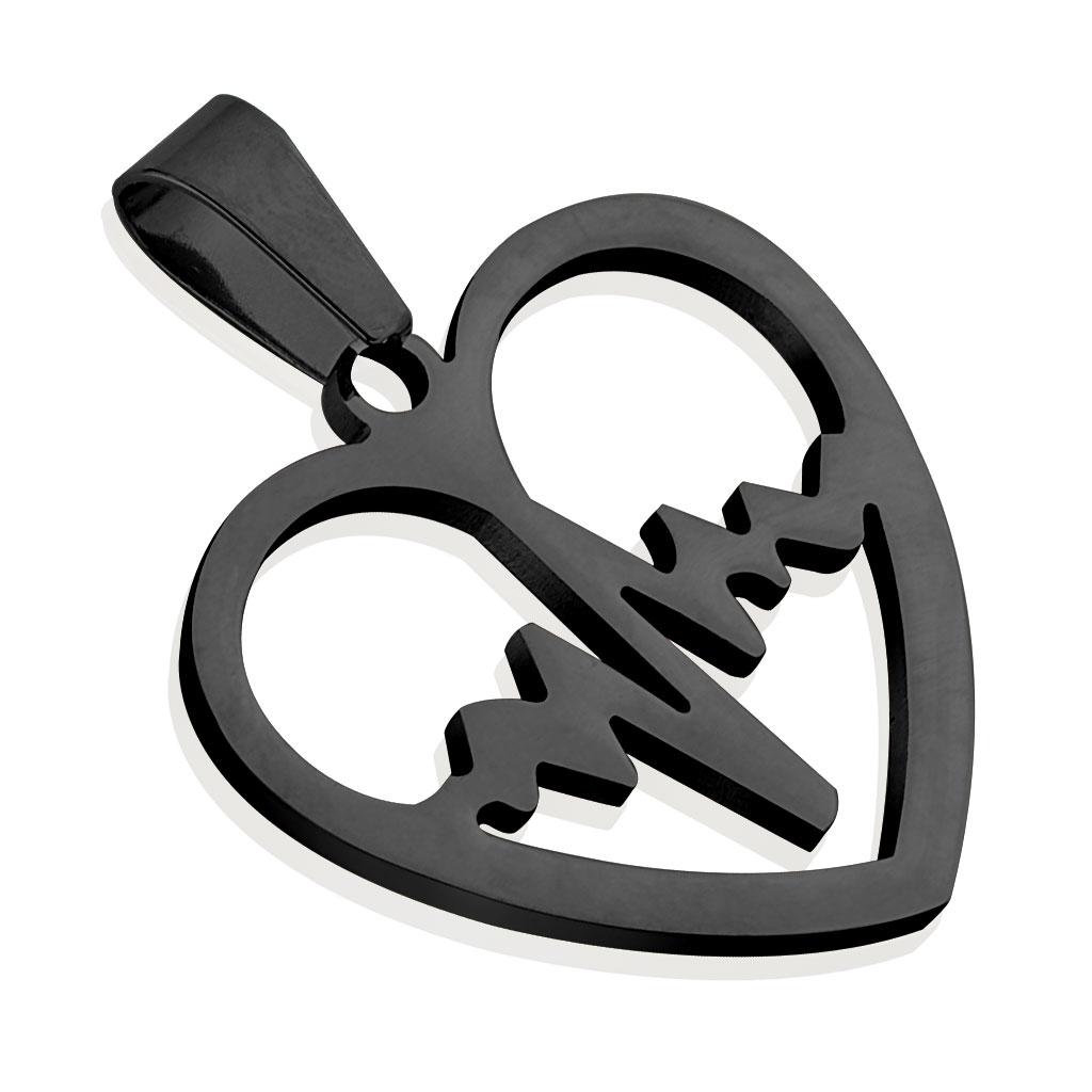 Čierny oceľový prívesok - srdce heart beat